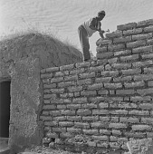view Man building a wall with mud bricks, in Bamako, Mali digital asset: Man building a wall with mud bricks, in Bamako, Mali