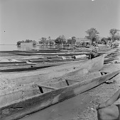 view Canoes docked at a port in Gao, Mali digital asset: Canoes docked at a port in Gao, Mali