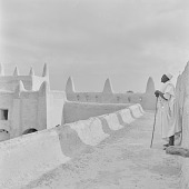 view Muezzin on the roof of the Grand Mosque of San, Mali digital asset: Muezzin on the roof of the Grand Mosque of San, Mali