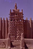 view A minarette of the Great Mosque of Djenné, Djenné, Mali digital asset: A minarette of the Great Mosque of Djenné, Djenné, Mali