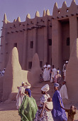 view People gathered in front of the steps of the Great Mosque of Djenné, Djenné, Mali digital asset: People gathered in front of the steps of the Great Mosque of Djenné, Djenné, Mali