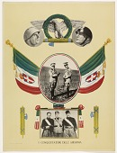 """view """"I Conquistatori dell' Abissinia"""" [political poster with photos of Benito Mussolini and soldiers; graphics and flags] digital asset: """"I Conquistatori dell' Abissinia"""" [political poster with photos of Benito Mussolini and soldiers; graphics and flags]"""