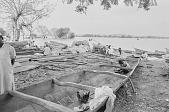 view Men repairing a dugout canoe on the shore of Kainji Reservoir, Kainji Reservoir region, Nigeria digital asset: Men repairing a dugout canoe on the shore of Kainji Reservoir, Kainji Reservoir region, Nigeria