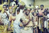 view Ekpe Urhobo Women's Group dancing during a Leaf Masquerade, Ohoro Town, Nigeria digital asset: Urhobo Women's Group Dancing, Ekpe, Leaf Masquerade, Ohoro Town, Nigeria