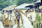 view Ekpe Urhobo Masquerade performer dancing during a Leaf Masquerade, Ohoro Town, Nigeria digital asset: Urhobo Dancing, Ekpe, Leaf Masquerade, Ohoro Town, Nigeria