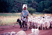 view George Rohrmann Collection digital asset: Boy shepherd and flock, Lesotho