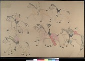 view MS 2367-a Red Horse pictographic account of the Battle of the Little Bighorn digital asset: Red Horse pictographic account of the Battle of the Little Bighorn
