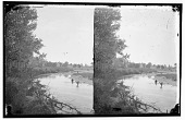 view Bend in small river with two men wading digital asset: Bend in small river with two men wading