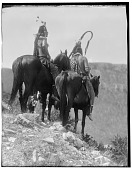view Two Crow men on horseback on hillside. Logbook title The Overlook digital asset: Two Crow men on horseback on hillside. Logbook title The Overlook