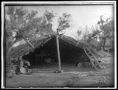view Chemehuevi summer shelter. Logbook title Primitive Summer Home. Published as Home in the Mesquite digital asset: Chemehuevi summer shelter. Logbook title Primitive Summer Home. Published as Home in the Mesquite