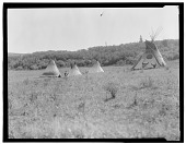 view Assiniboin camp showing painted tipis digital asset: Assiniboin camp showing painted tipis
