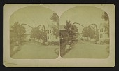 view [village scene with carriage and arch over the street made by climbing vine] digital asset: [village scene with carriage and arch over the street made by climbing vine]