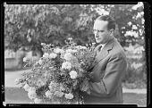 view California Trial Fields, David Burpee with Cactus Flowered Marigold Mrs. Lippincott digital asset: California Trial Fields, David Burpee with Cactus Flowered Marigold Mrs. Lippincott
