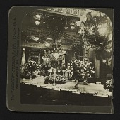 view [East Room decorated for state dinner to honor Prince Heinrich of Germany] digital asset: [table settings and decorations]