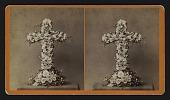 view [Funerary floral arrangement]: standing cross. digital asset: [Funerary floral arrangement]: standing cross.