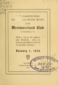 view The constitution, by-laws and house rules of the Westmoreland Club of Richmond, Va digital asset number 1