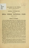 view General information regarding Mesa Verde National Park : season of 1913 digital asset number 1