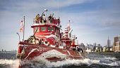 view NYC Fireboat Rebranded in Vibrant Dazzle Camouflage to Commemorate WWI digital asset number 1