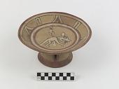 view Rattle-base pedestal bowl depicting a crouching dog digital asset number 1