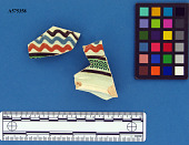view Dipped ceramics storage jar sherds, green rouletted, trailed slip digital asset number 1
