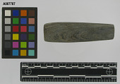 view Tube shape bannerstone or pipe, banded slate digital asset number 1