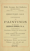 view Executor's sale. Catalogue of paintings by the late George Inness, N.A... For sale on...Feb. 11th-13th.. digital asset number 1