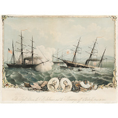 "view The Fight Between the ""Alabama"" and the ""Kearsarge"" Off Cherbourg, June 19, 1864 digital asset number 1"