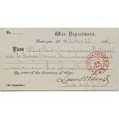 view War Department Pass, November 25, 1864 digital asset number 1