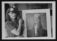 view Photograph of Gertrude Abercrombie with her cat and self-portrait digital asset number 1