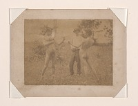 thumbnail image for Figure study using men posed as boxers standing in a field