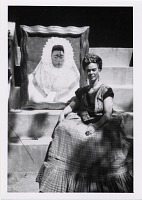thumbnail image for Photograph of Frida Kahlo with her painting, <em>Self-Portrait as a Tehuana</em>