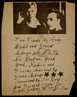 thumbnail image for Poem Visuals, invitation to Andy Warhol and Gerard Malanga poetry