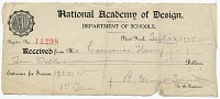 thumbnail image for National Academy of Design receipt for tuition payment from Lawrence Henry