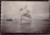 thumbnail image for President Benjamin Harrison's ship arriving in Seattle during his Western tour of the United States