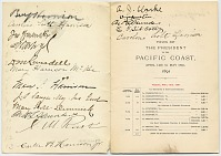 thumbnail image for itinerary autographed by those on President Benjamin Harrison's Western tour of the United States to the Pacific Coast