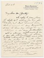 thumbnail image for Mary Cassatt, Paris, France letter to John Wesley Beatty, Pittsburgh, Pa.