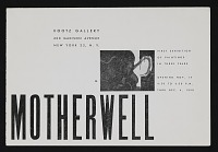 thumbnail image for Kootz Gallery catalog for exhibit <em>Motherwell: First exhibition of paintings in three years</em>
