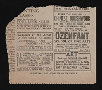 thumbnail image for Newspaper clipping with advertisement for Subjects of the Artist school