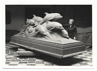 thumbnail image for Katharine Lane Weems and her sculpture <em>Dolphins of the sea</em>