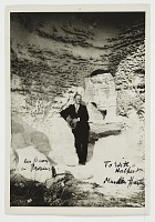 thumbnail image for Marsden Hartley outside a cave in Les Baux, Provence, France.