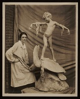 thumbnail image for Beatrice Fenton with her sculpture <em>Seaweed fountain</em>