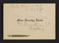 thumbnail image for Dorothy Reade visiting card