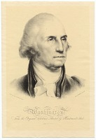 Portrait of George Washington. Inscribed in lower left and right corners of image: Drawn on stone by Rembrandt Peale; Lith. of Pendleton, 9 Wall St.