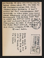 thumbnail image for Carl Andre postcard to John Held Jr.
