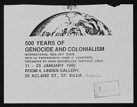 thumbnail image for <em>500 Years of Genocide and Colonialism</em> exhibition announcement to John Held Jr.