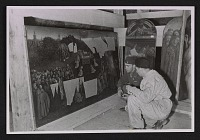 thumbnail image for Lt. Daniel J. Kern and Karl Sieber examining the Ghent Altarpiece in the Altaussee mine