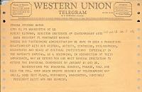 thumbnail image for John F. (John Fitzgerald) Kennedy telegram to Robert Richman