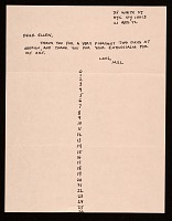 thumbnail image for Mel Bochner, New York, N.Y. letter to Ellen H. Johnson
