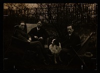 thumbnail image for Marcel Duchamp, Jacques Villon, Raymond Duchamp-Villon, and Villon's dog Pipe in the garden of Villon's studio, Puteaux, France