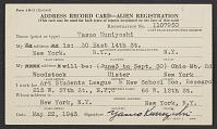 thumbnail image for Yasuo Kuniyoshi's alien registration address record card